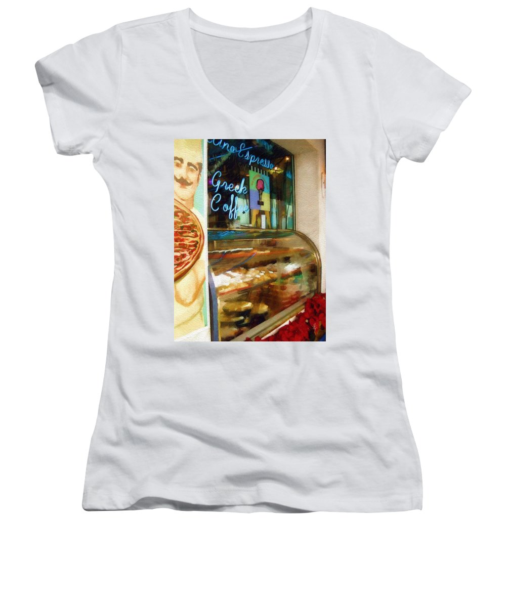 Greek Women's V-Neck (Athletic Fit) featuring the photograph Greek Coffee by Sandy MacGowan