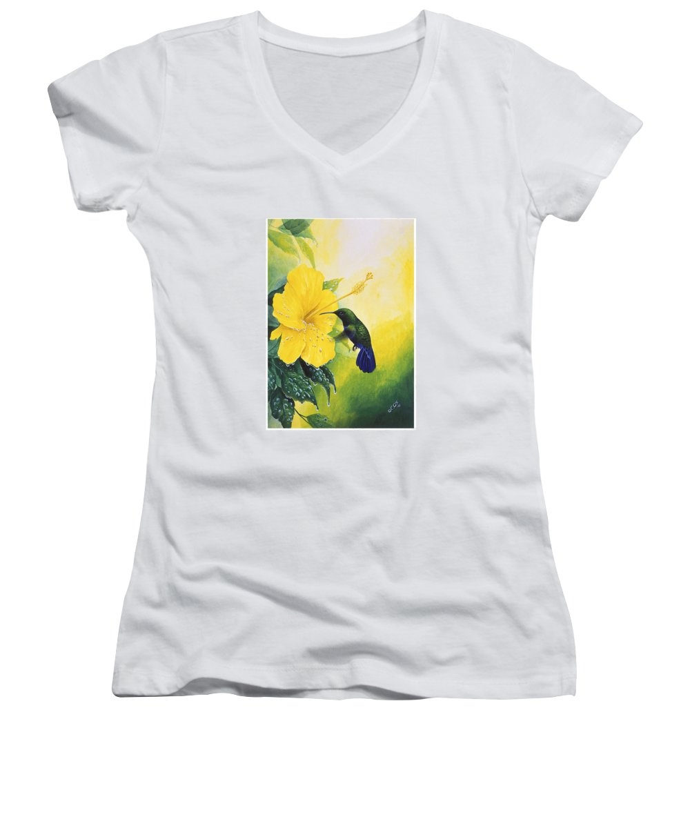 Chris Cox Women's V-Neck T-Shirt featuring the painting Green-throated Carib Hummingbird And Yellow Hibiscus by Christopher Cox
