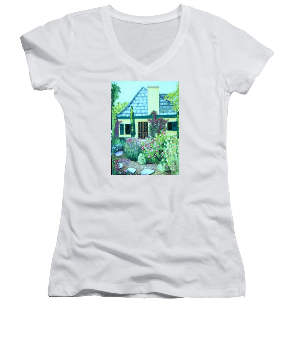Cottage Women's V-Neck (Athletic Fit) featuring the painting Guest Cottage by Laurie Morgan
