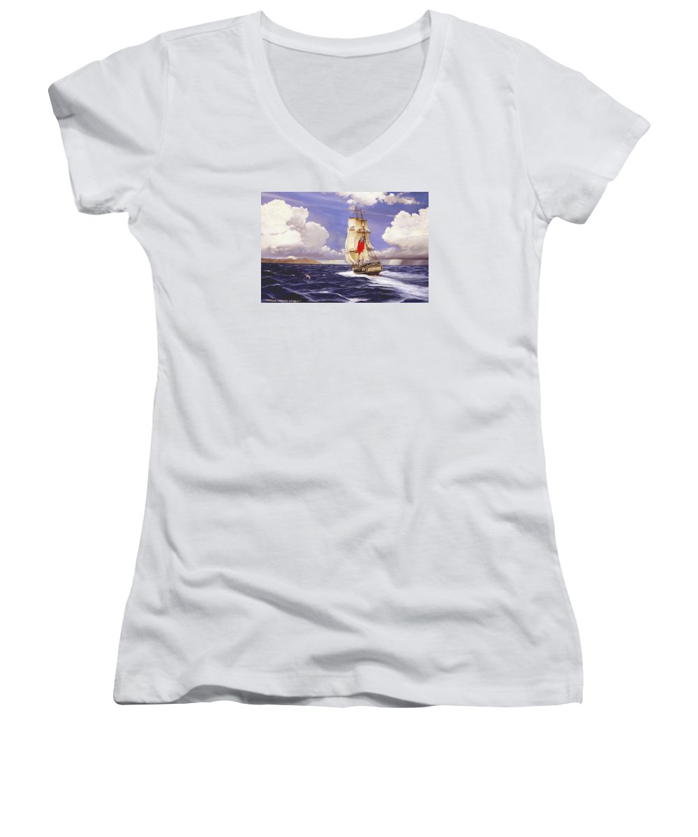 Marine Women's V-Neck T-Shirt featuring the painting H. M. S. Bounty At Tahiti by Marc Stewart
