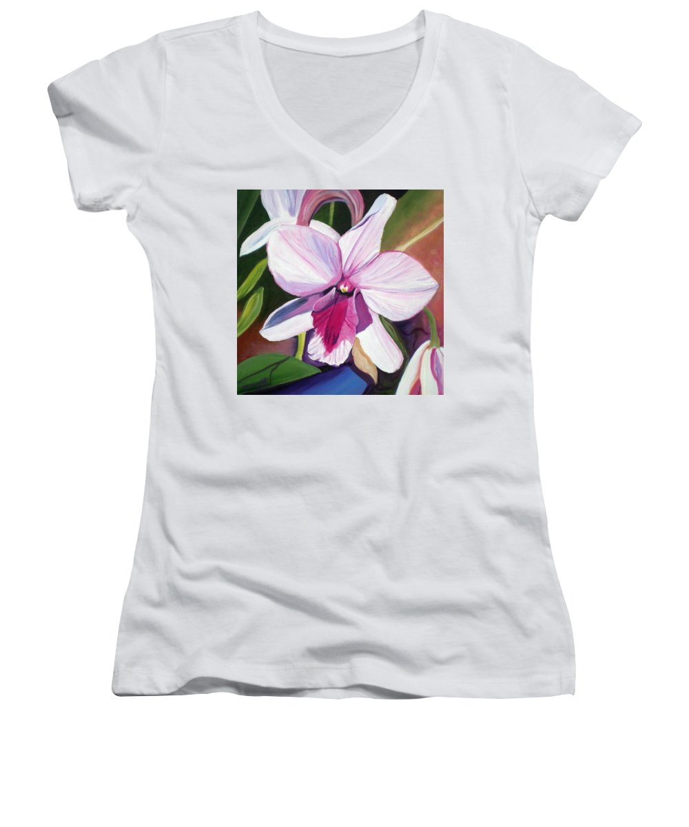 Kauai Women's V-Neck T-Shirt featuring the painting Happy Orchid by Marionette Taboniar