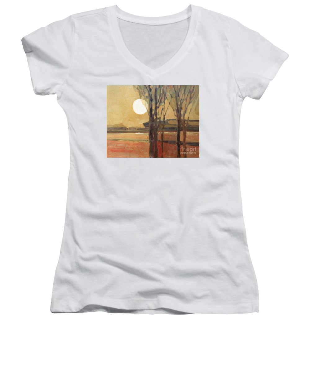 Sunset Women's V-Neck T-Shirt featuring the painting Harvest Moon by Donald Maier