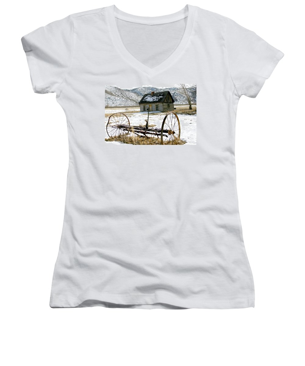 Utah Women's V-Neck T-Shirt featuring the photograph Hay Rake At Butch Cassidy by Nelson Strong