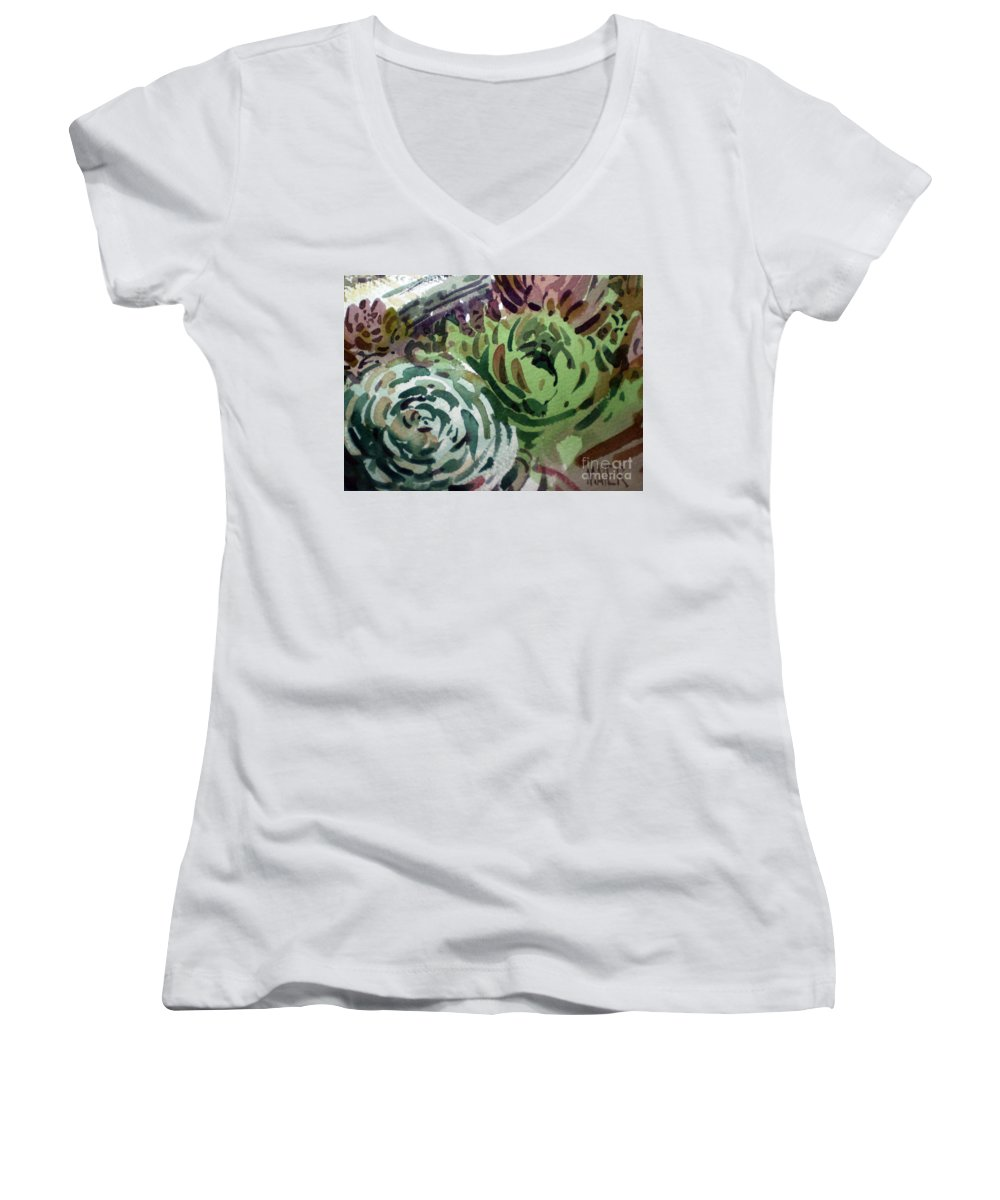 Succulent Plants Women's V-Neck T-Shirt featuring the painting Hen And Chicks by Donald Maier