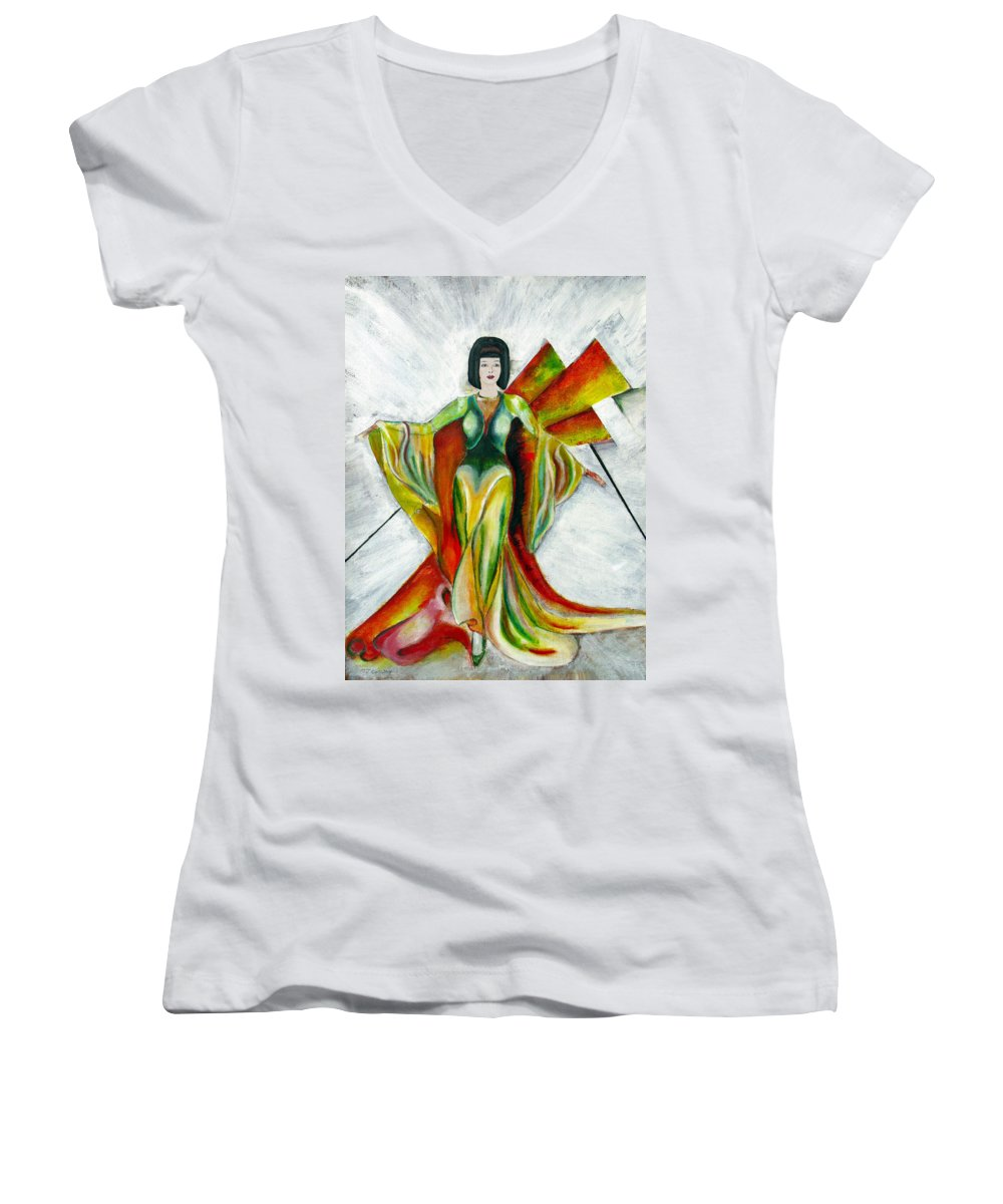 Dress Women's V-Neck (Athletic Fit) featuring the painting Here Comes The Sun by Tom Conway
