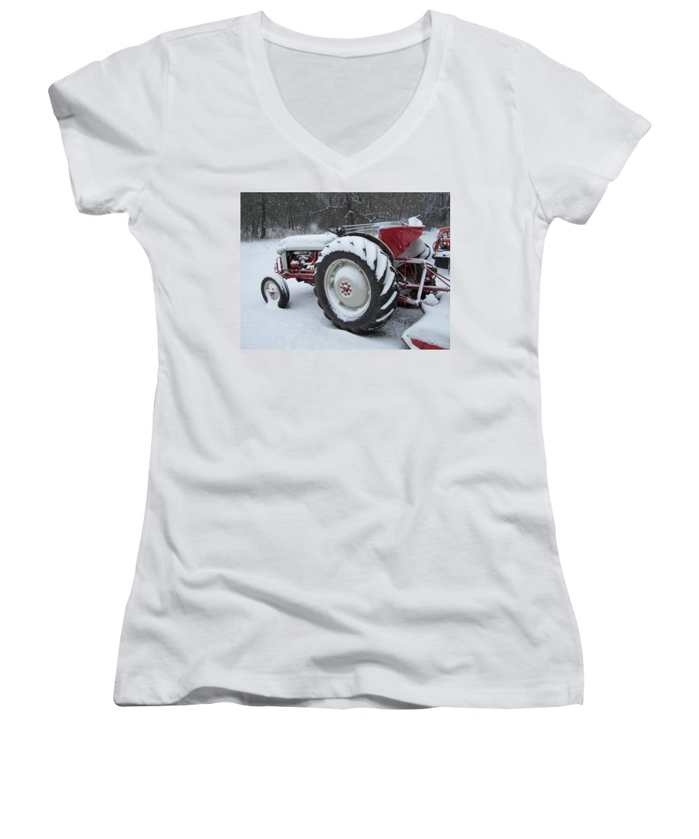 Tractor Women's V-Neck T-Shirt featuring the photograph Herman by Gale Cochran-Smith