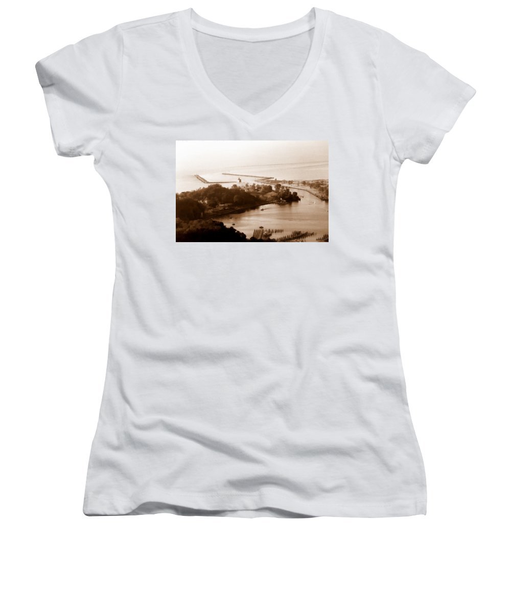 Holland Women's V-Neck T-Shirt featuring the photograph Holland Michigan Harbor Big Red Aerial Photo by Michelle Calkins