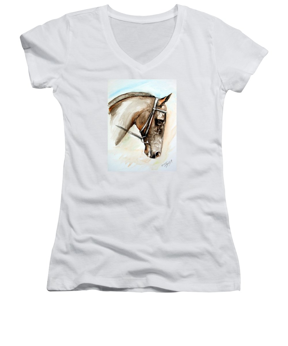 Horse Women's V-Neck T-Shirt featuring the painting Horse Head by Leyla Munteanu