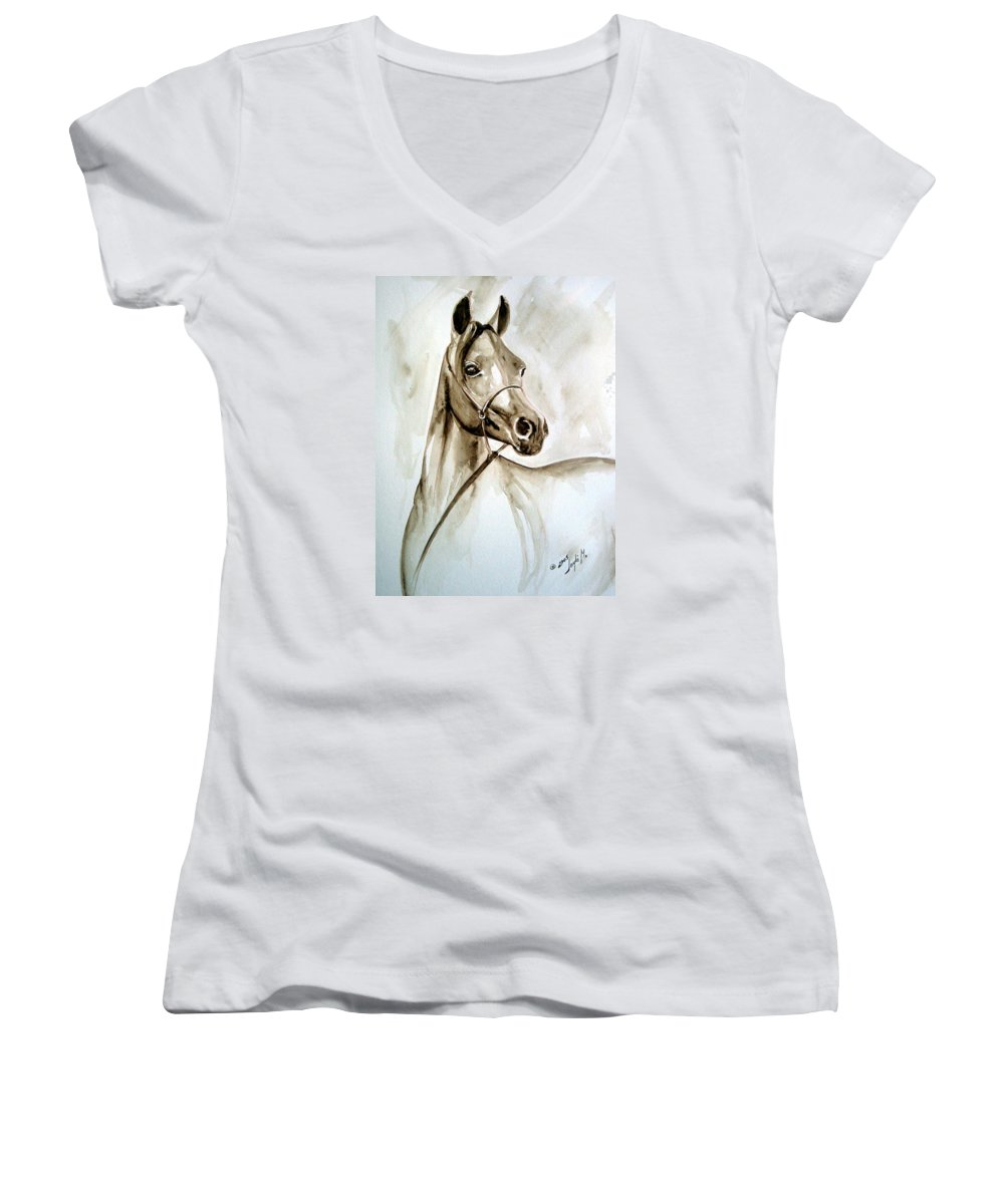 Portrait Of A Horse Women's V-Neck (Athletic Fit) featuring the painting Horse by Leyla Munteanu