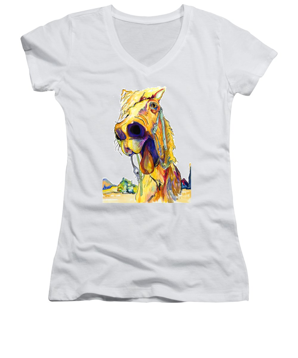 Animal Painting Women's V-Neck (Athletic Fit) featuring the painting Horsing Around by Pat Saunders-White