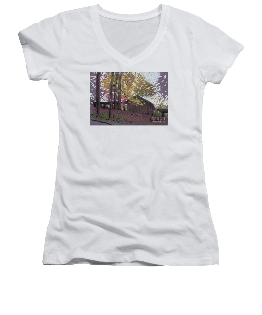 Pastel Women's V-Neck T-Shirt featuring the drawing James's Barns 9 by Donald Maier