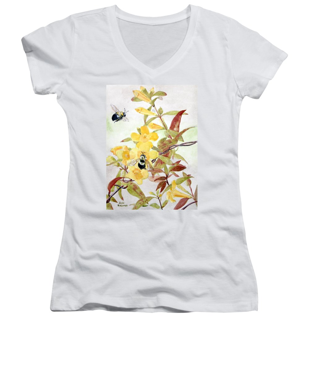 Jasmine Women's V-Neck (Athletic Fit) featuring the painting Jessamine Bee Mine by Jean Blackmer