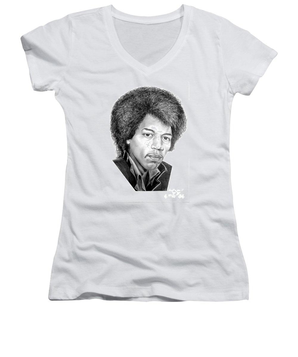 Jimmi Hendrix Women's V-Neck T-Shirt featuring the drawing Jimmi Hendrix By Murphy Art. Elliott by Murphy Elliott