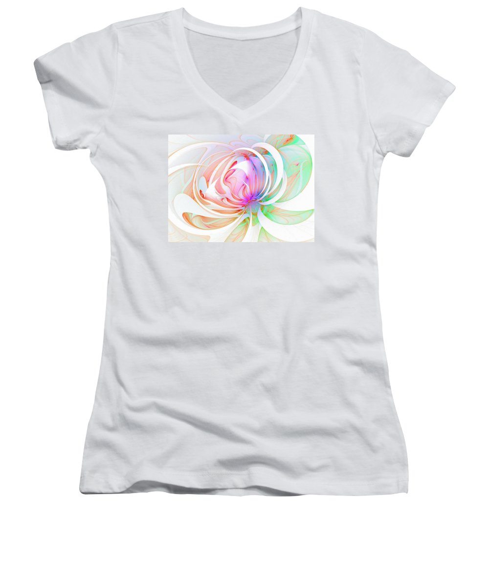 Digital Art Women's V-Neck T-Shirt featuring the digital art Joy by Amanda Moore