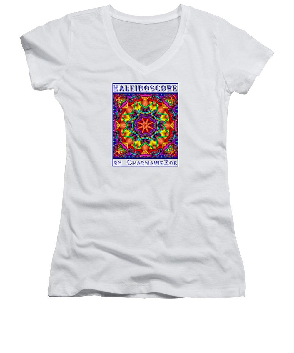 Kaleidoscope Women's V-Neck (Athletic Fit) featuring the digital art Kaleidoscope 2 by Charmaine Zoe