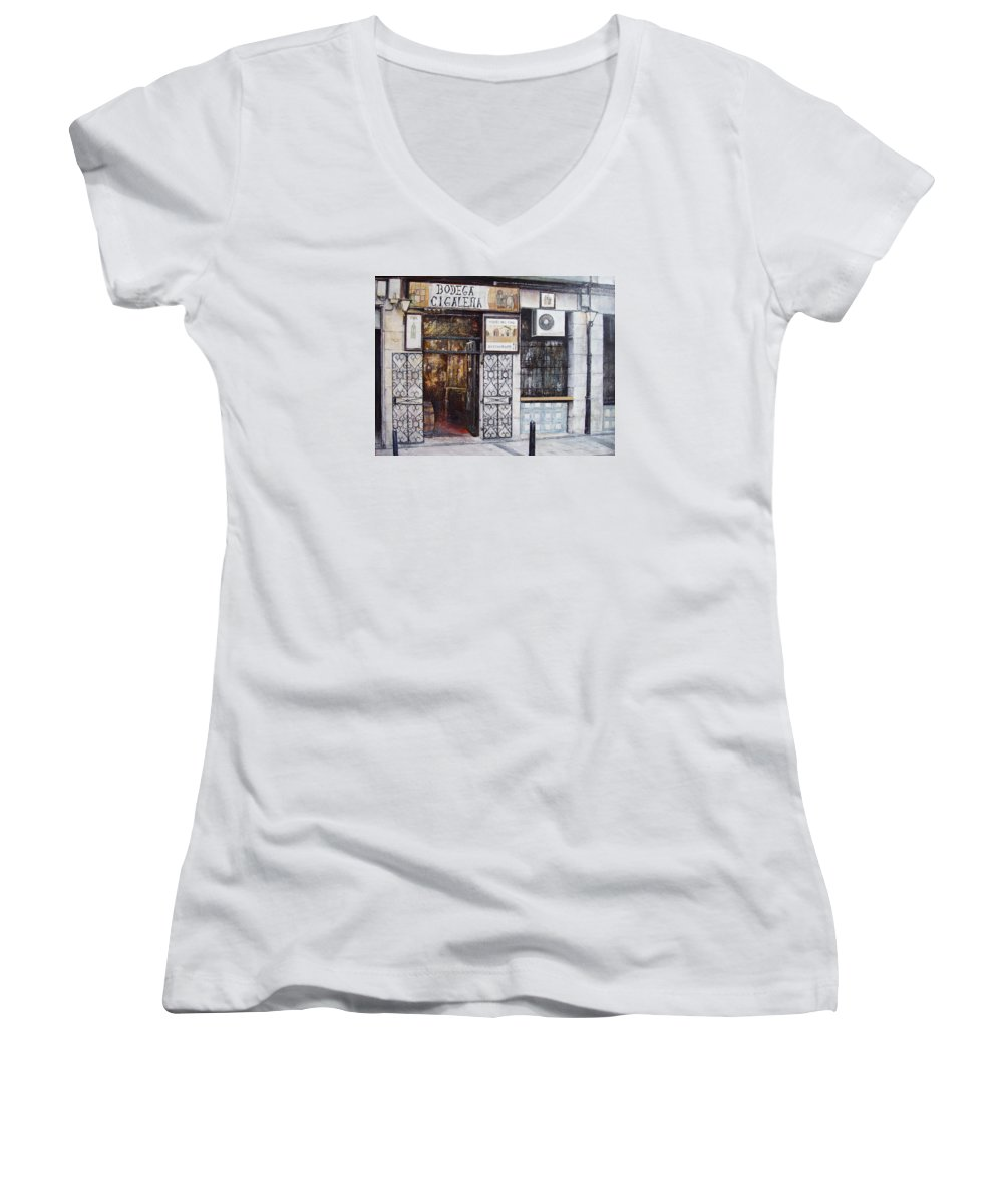 Bodega Women's V-Neck T-Shirt featuring the painting La Cigalena Old Restaurant by Tomas Castano