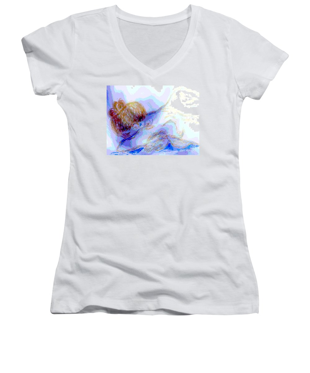 Lady Women's V-Neck (Athletic Fit) featuring the digital art Lady Crying by Shelley Jones