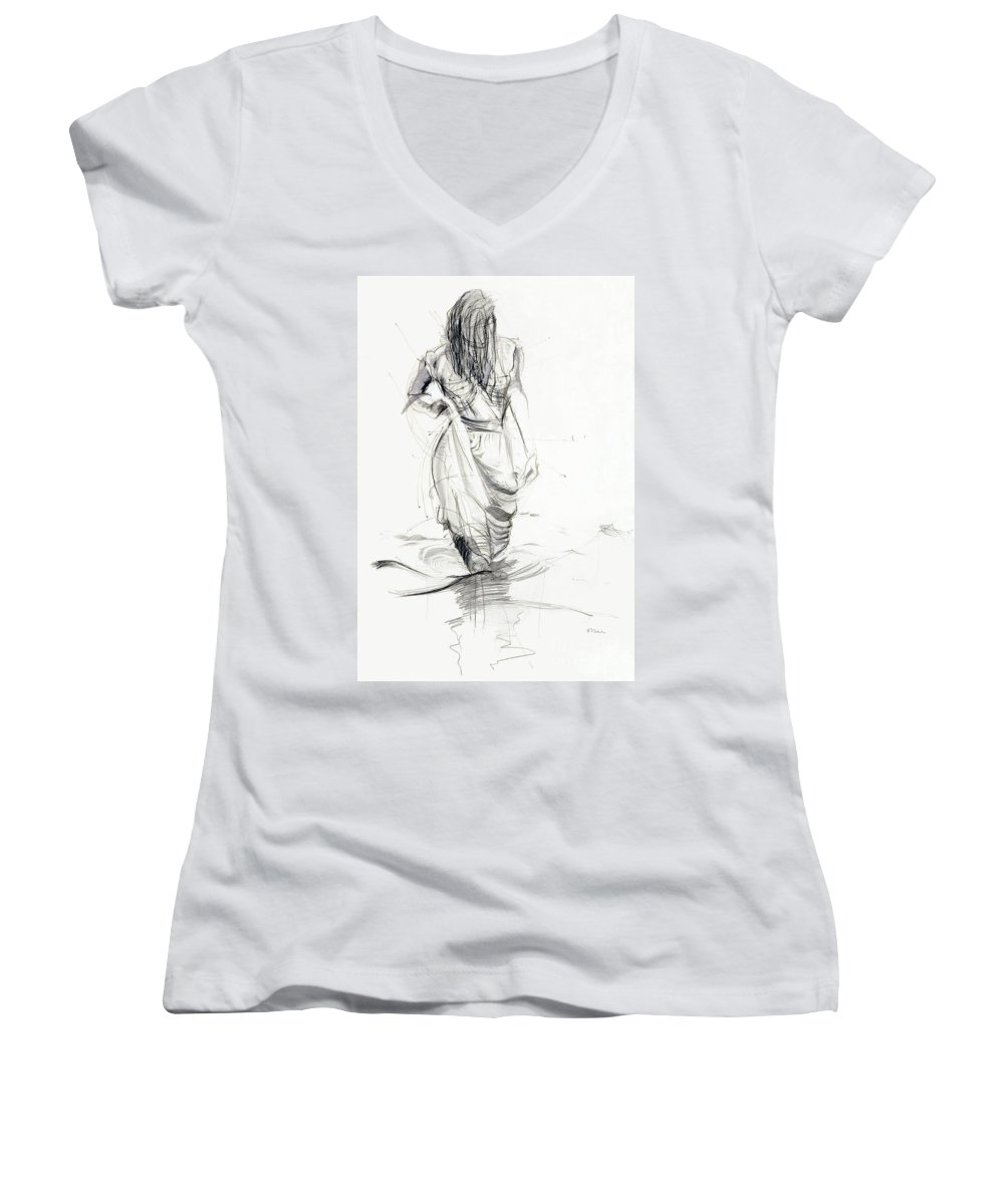 Woman Women's V-Neck T-Shirt featuring the drawing Lady In The Waters by Kerryn Madsen-Pietsch