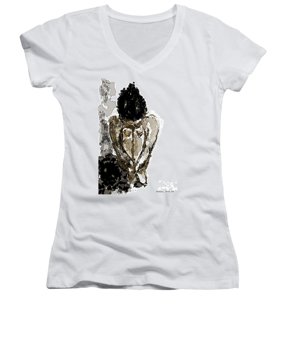 Lady Women's V-Neck (Athletic Fit) featuring the digital art Lady Sitting by Shelley Jones