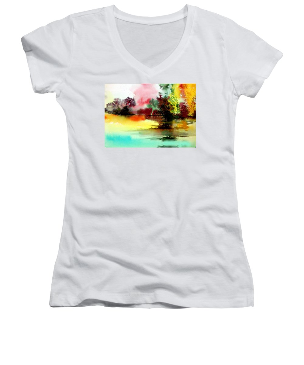 Nature Women's V-Neck T-Shirt featuring the painting Lake In Colours by Anil Nene