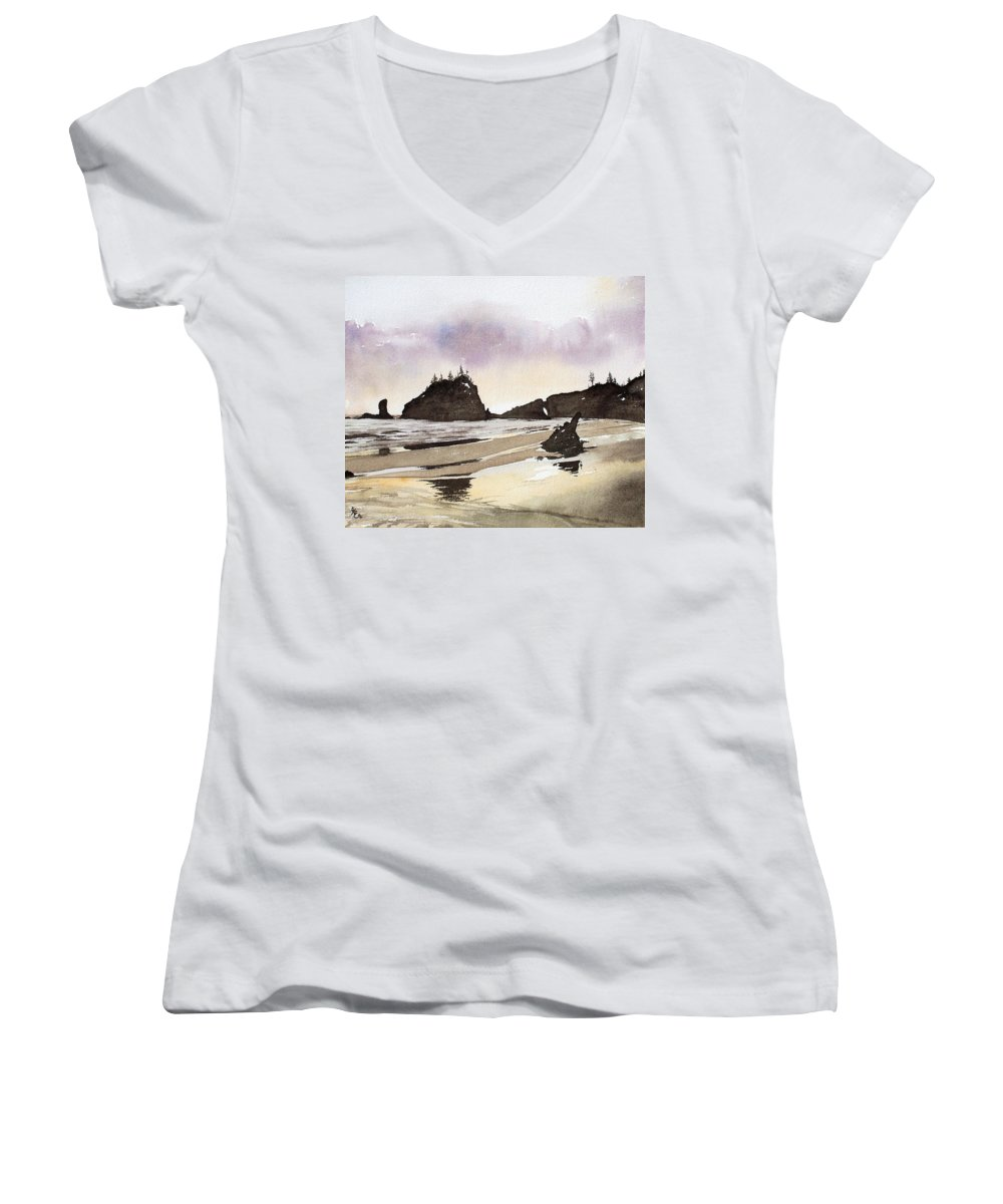 Washington Women's V-Neck (Athletic Fit) featuring the painting Lapush by Gale Cochran-Smith