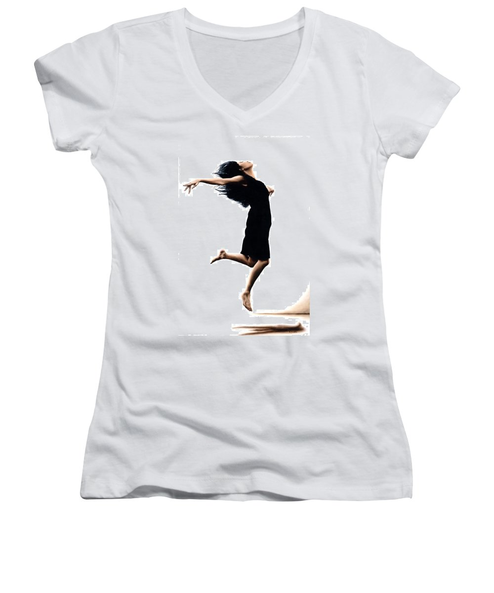 Ballet Women's V-Neck T-Shirt featuring the painting Leap Into The Unknown by Richard Young