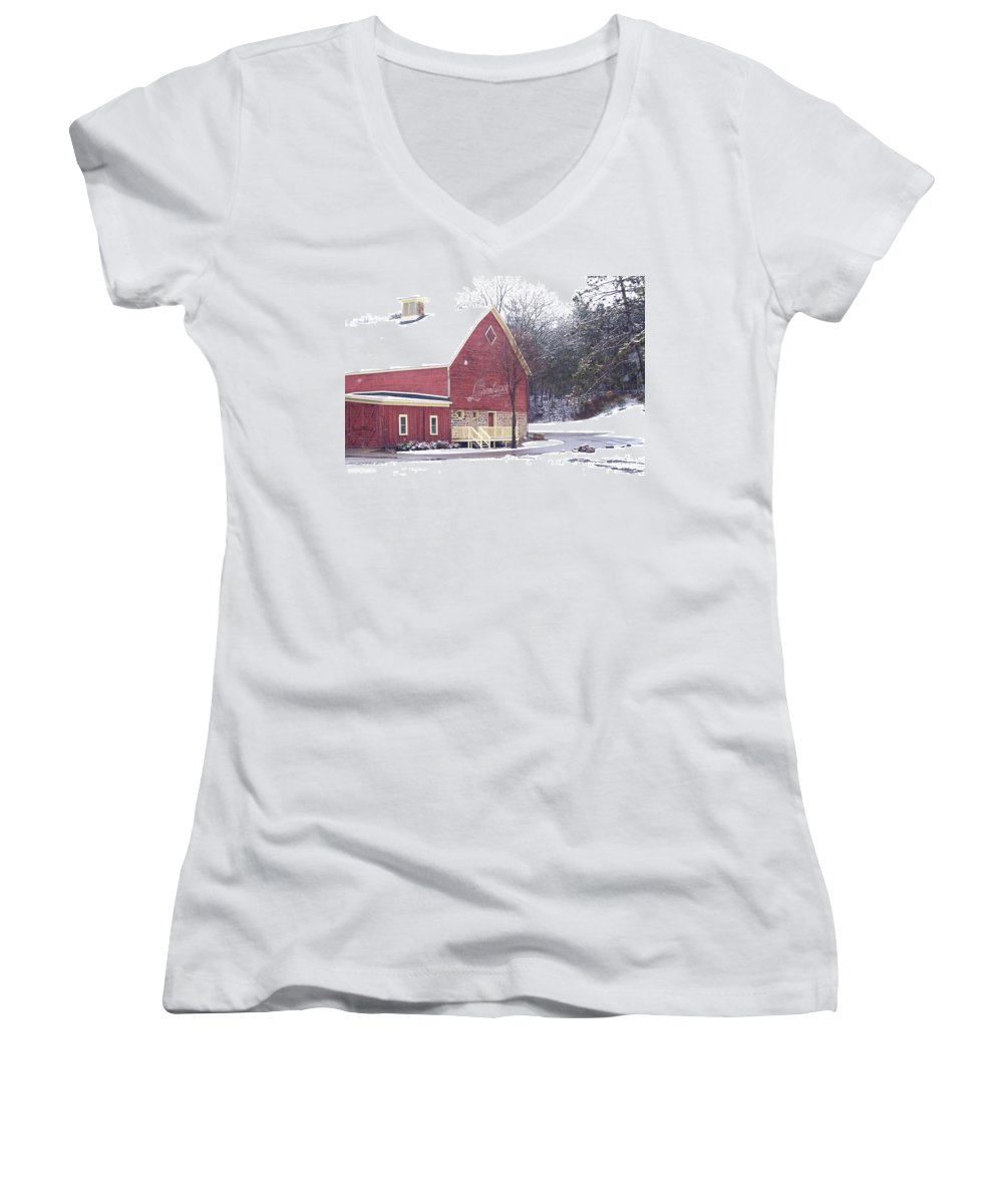Barn Women's V-Neck T-Shirt featuring the photograph Leinie by Tim Nyberg