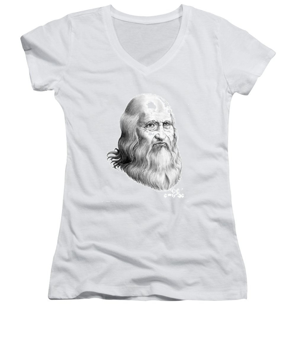 Famous Person Women's V-Neck (Athletic Fit) featuring the drawing Leonardo Da Vinci by Murphy Elliott
