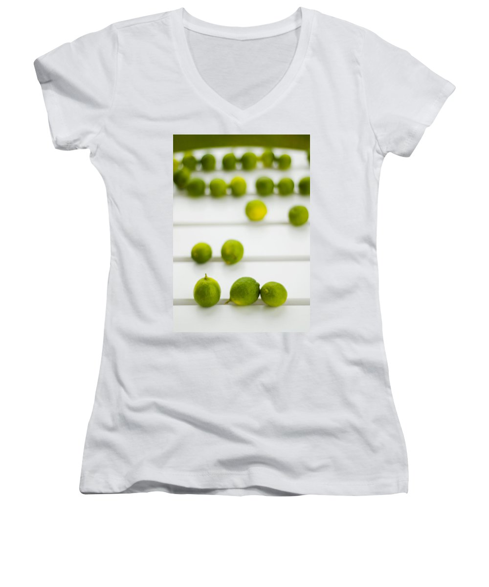Green Women's V-Neck T-Shirt featuring the photograph Lime Green by Skip Hunt