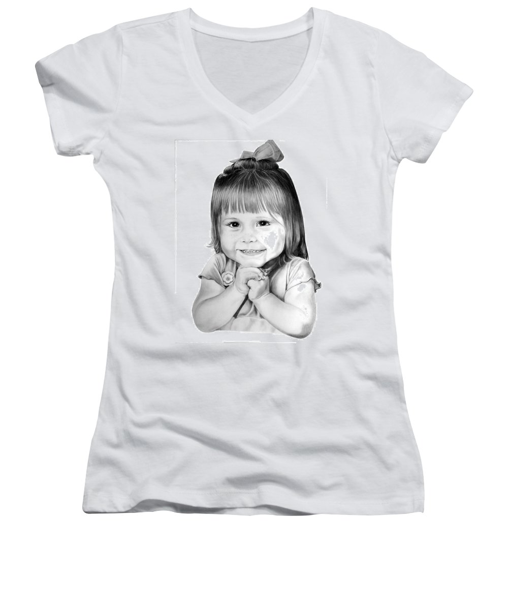 Child Women's V-Neck (Athletic Fit) featuring the drawing Little Bailey by Murphy Elliott