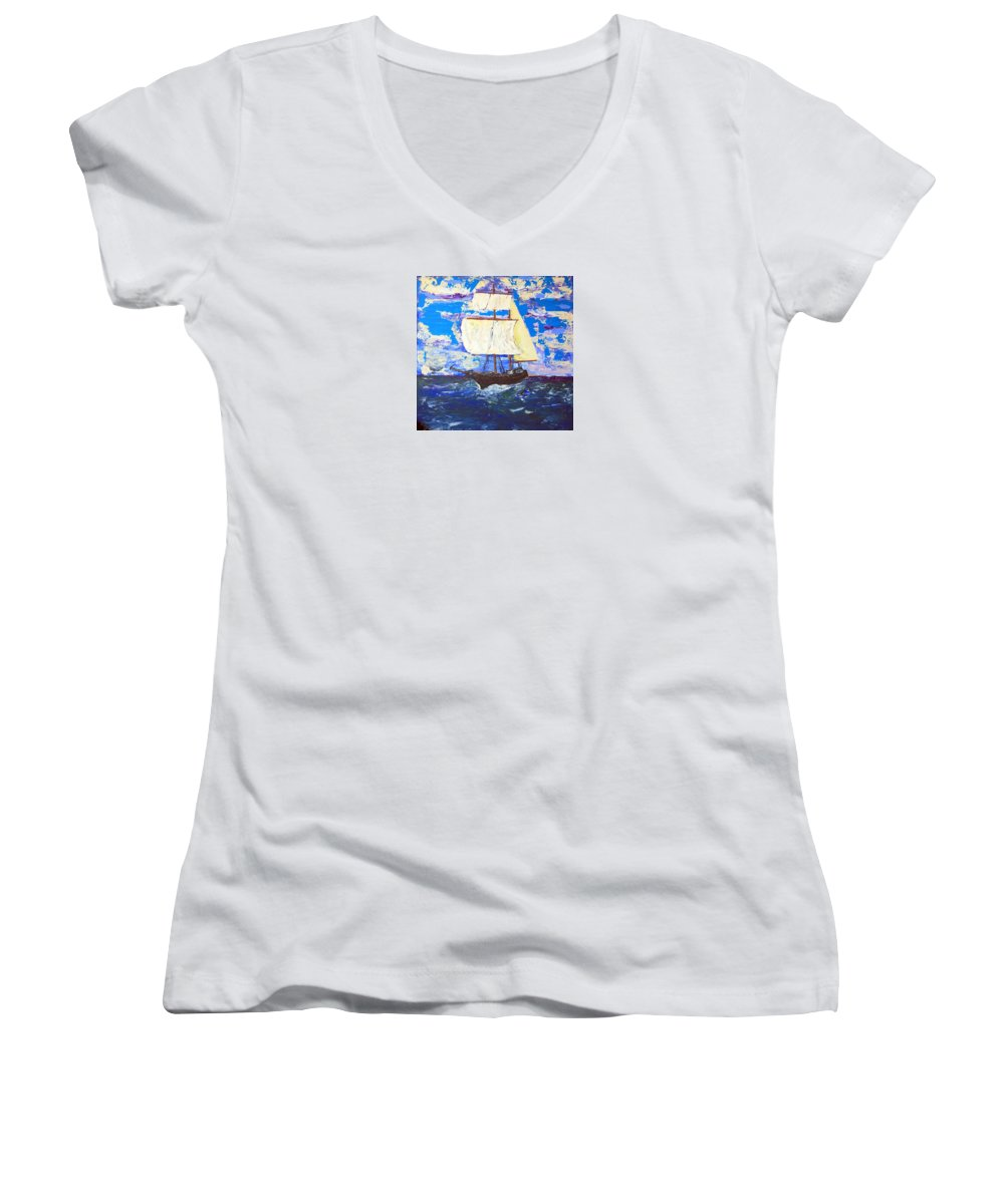 Impressionist Painting Women's V-Neck (Athletic Fit) featuring the painting Little Clipper by J R Seymour