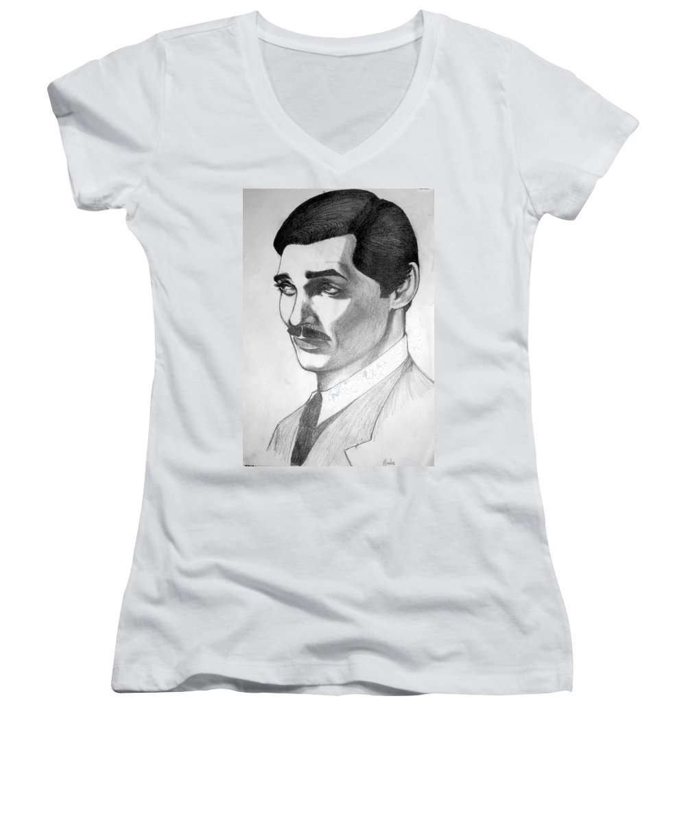 Portrait Women's V-Neck (Athletic Fit) featuring the drawing Long Live The King by Marco Morales
