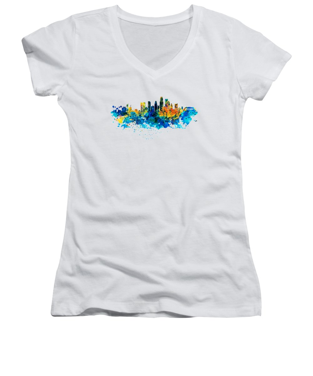 Los Angeles Skyline Junior V-Neck T-Shirts