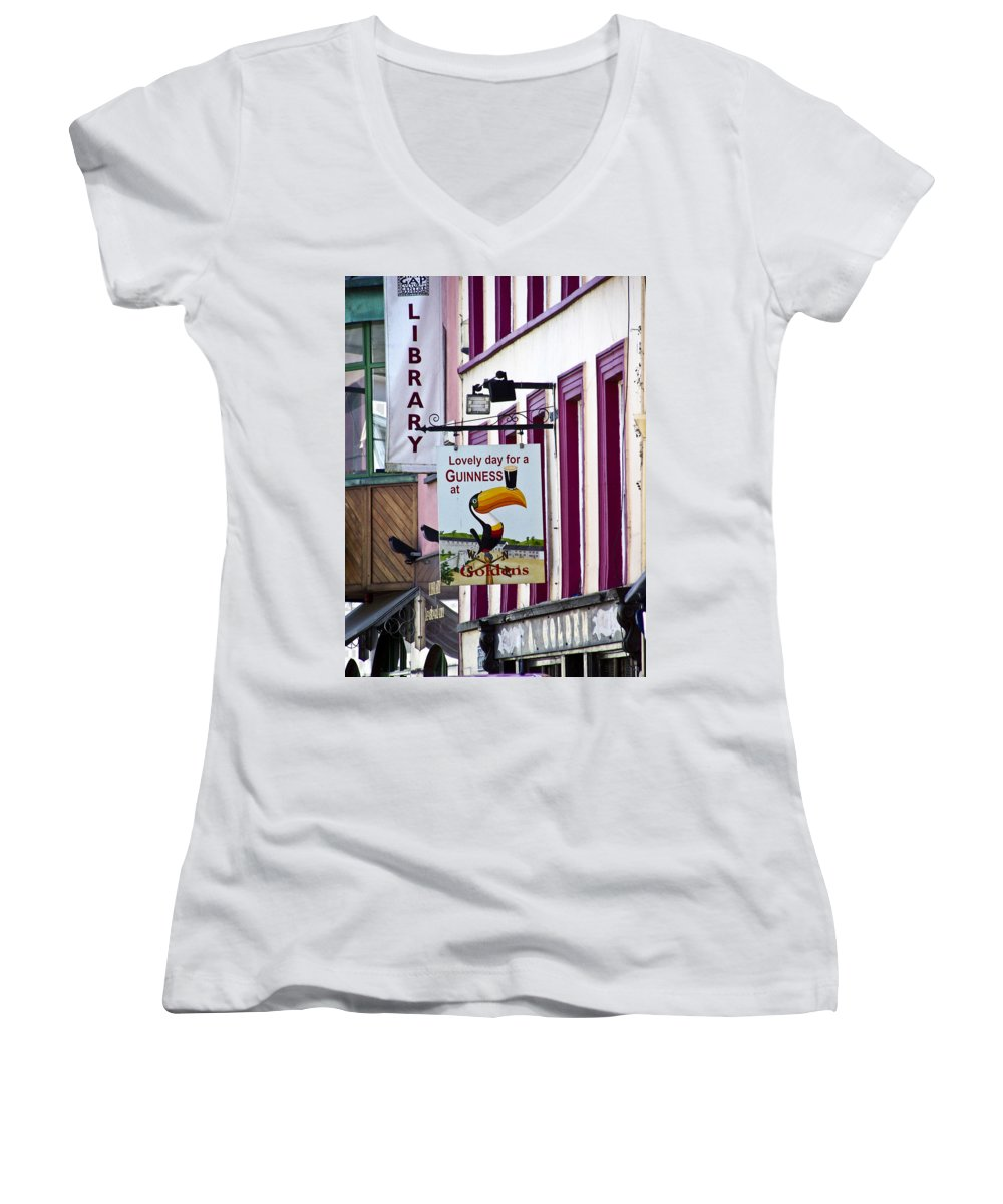 Irish Women's V-Neck T-Shirt featuring the photograph Lovely Day For A Guinness Macroom Ireland by Teresa Mucha