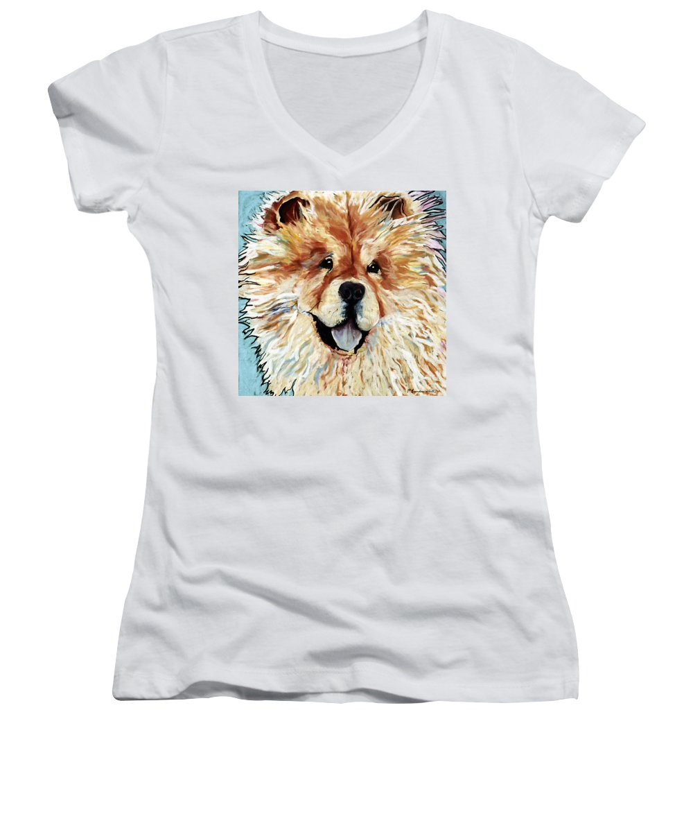 Chow Chow Women's V-Neck (Athletic Fit) featuring the pastel Madame Chu Cho by Pat Saunders-White