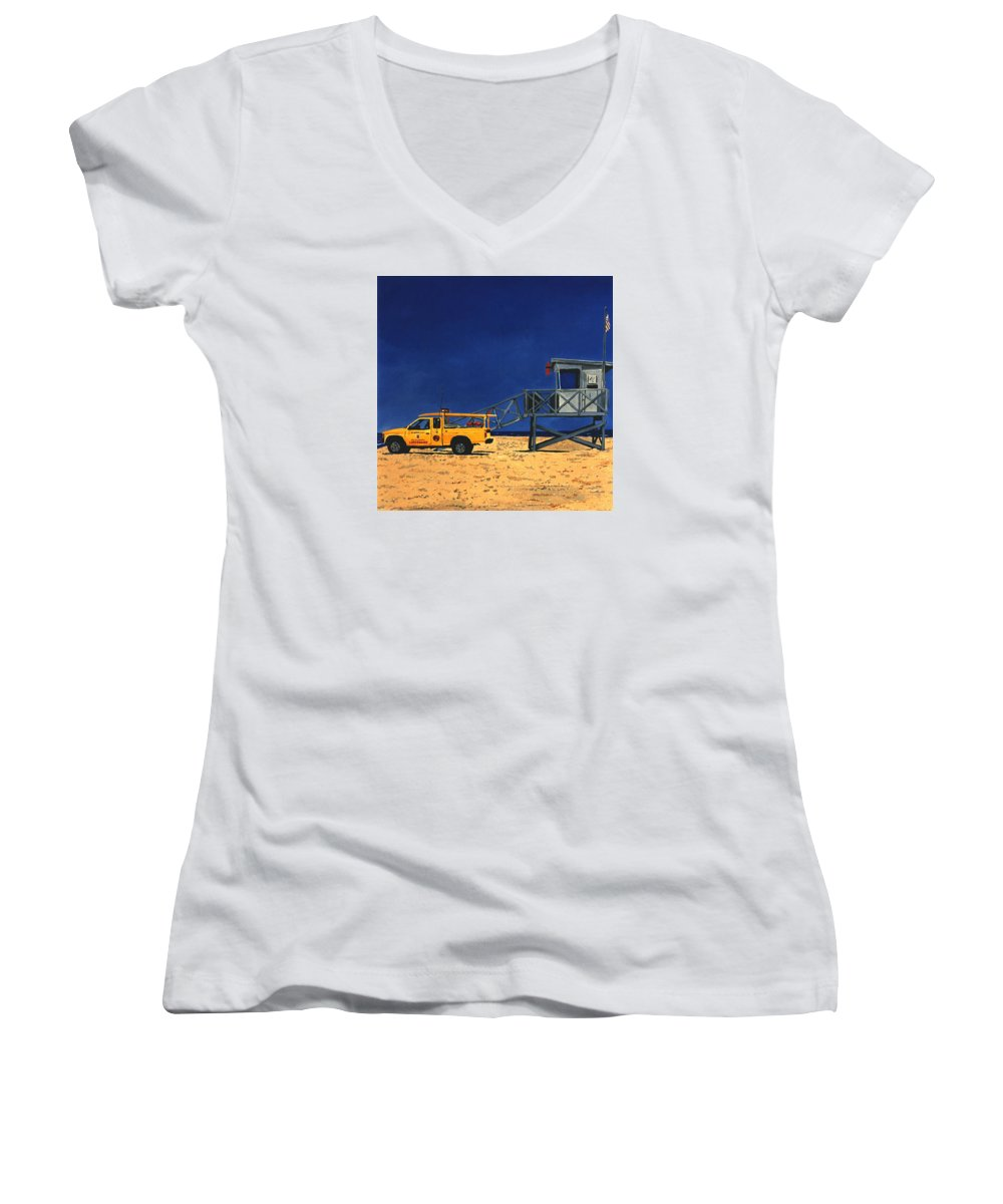Modern Women's V-Neck T-Shirt featuring the painting Manhattan Beach Lifeguard Station Side by Lance Headlee