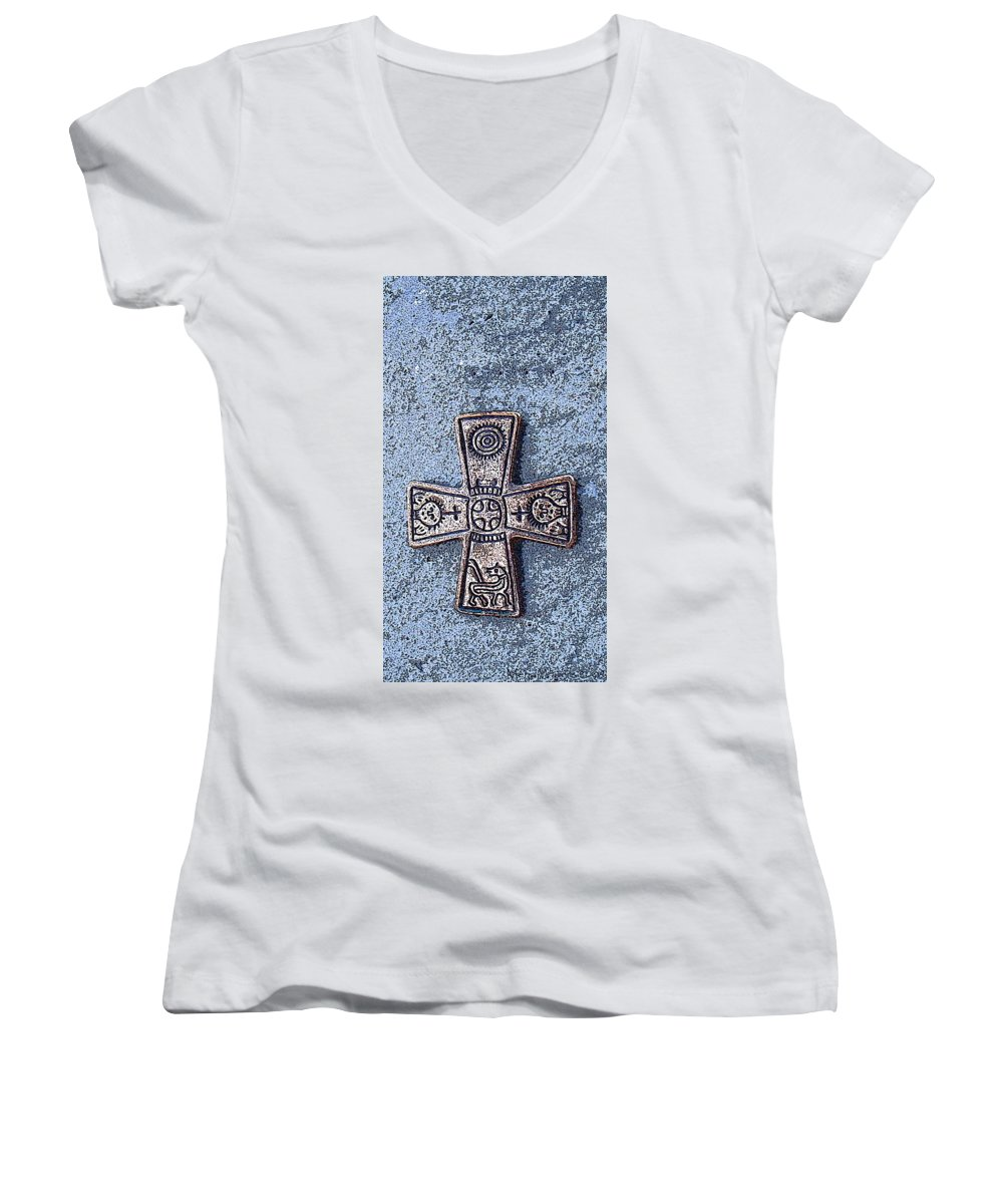 Cross Women's V-Neck (Athletic Fit) featuring the photograph Medieval Nordic Cross by Merja Waters