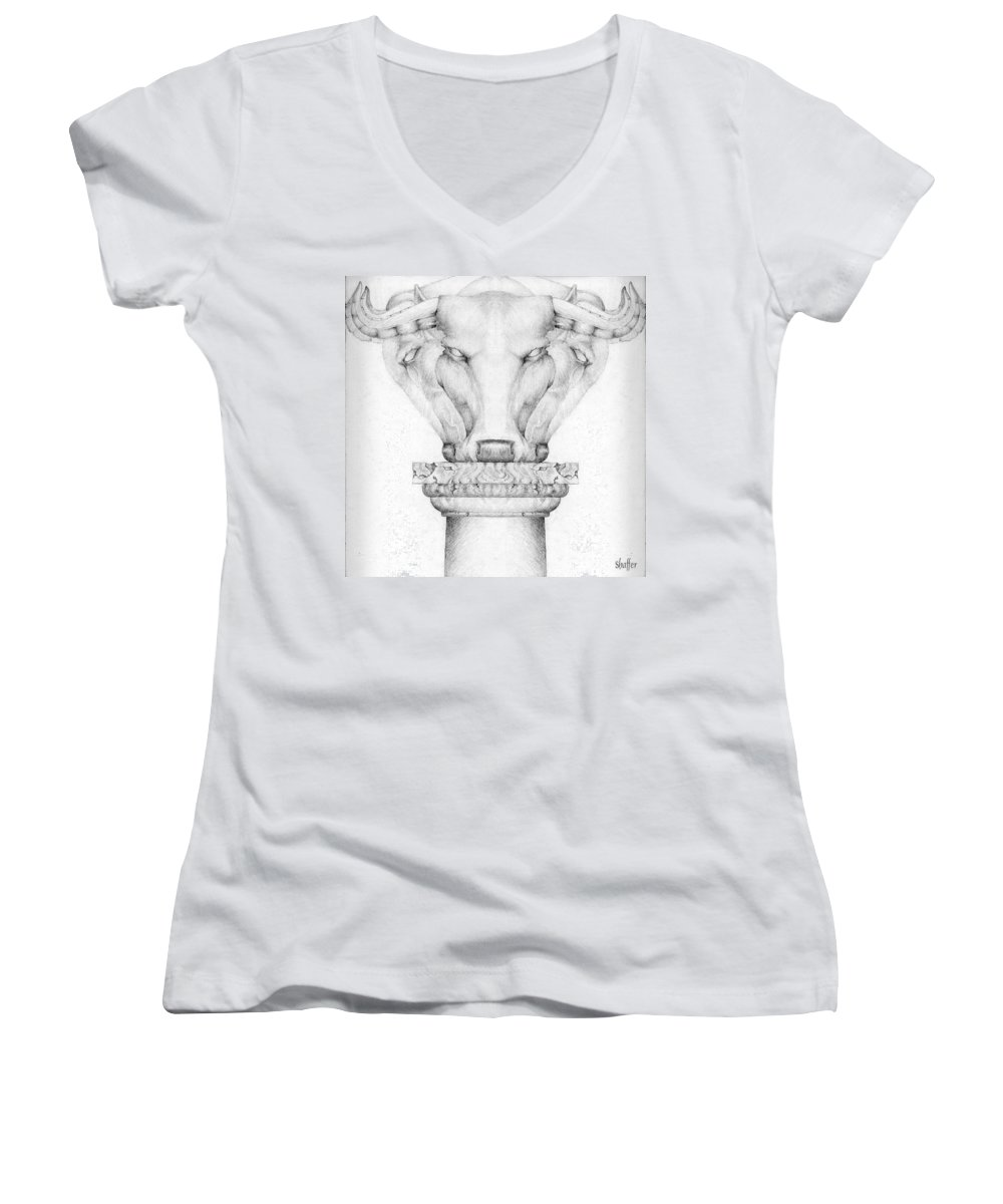 Bull Women's V-Neck T-Shirt featuring the drawing Mesopotamian Capital by Curtiss Shaffer