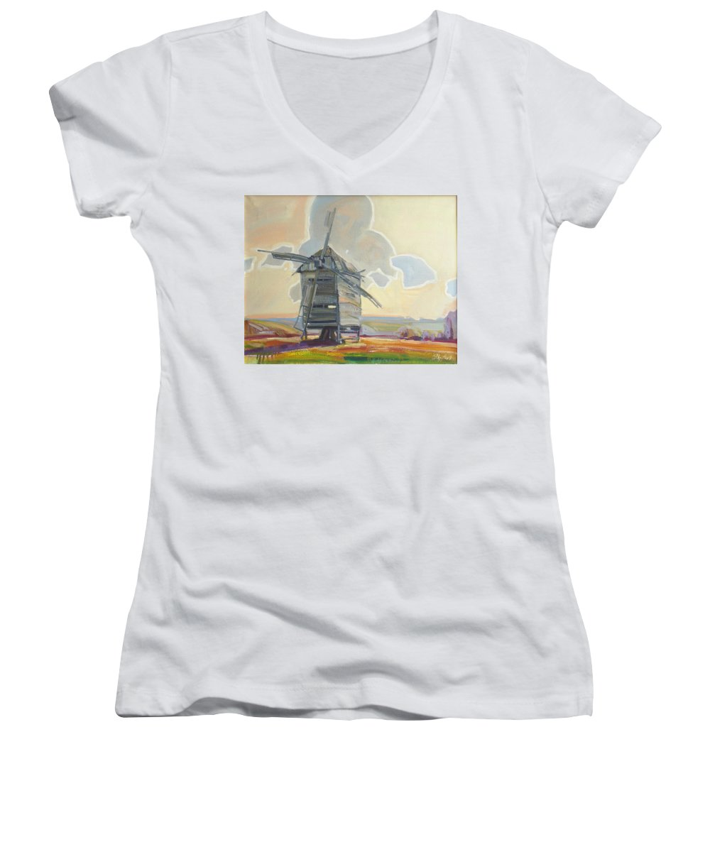 Oil Women's V-Neck T-Shirt featuring the painting Mill by Sergey Ignatenko