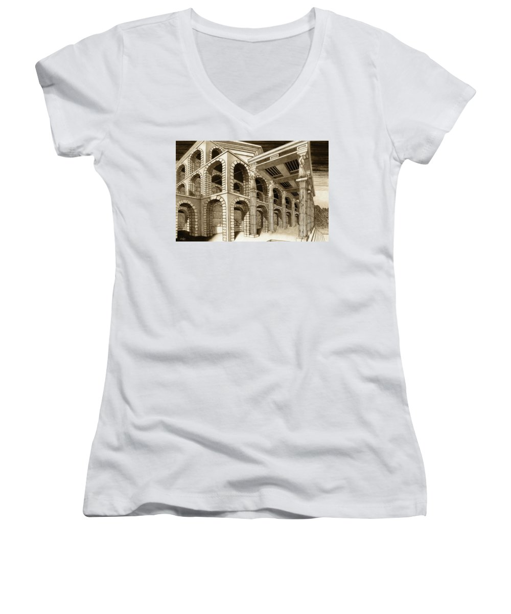 Mithlond Women's V-Neck T-Shirt featuring the drawing Mithlond Gray Havens by Curtiss Shaffer