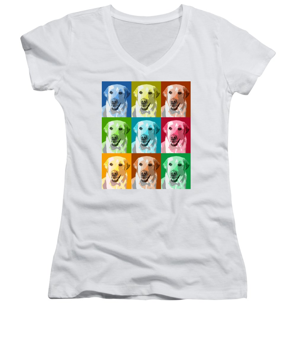 Americana Women's V-Neck (Athletic Fit) featuring the photograph Golden Retriever Warhol by Marilyn Hunt