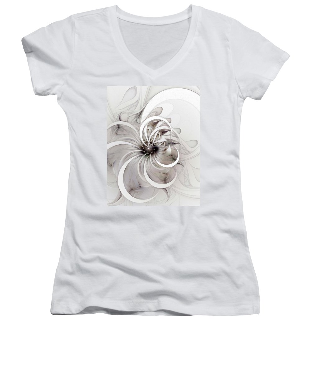 Digital Art Women's V-Neck (Athletic Fit) featuring the digital art Monochrome Flower by Amanda Moore