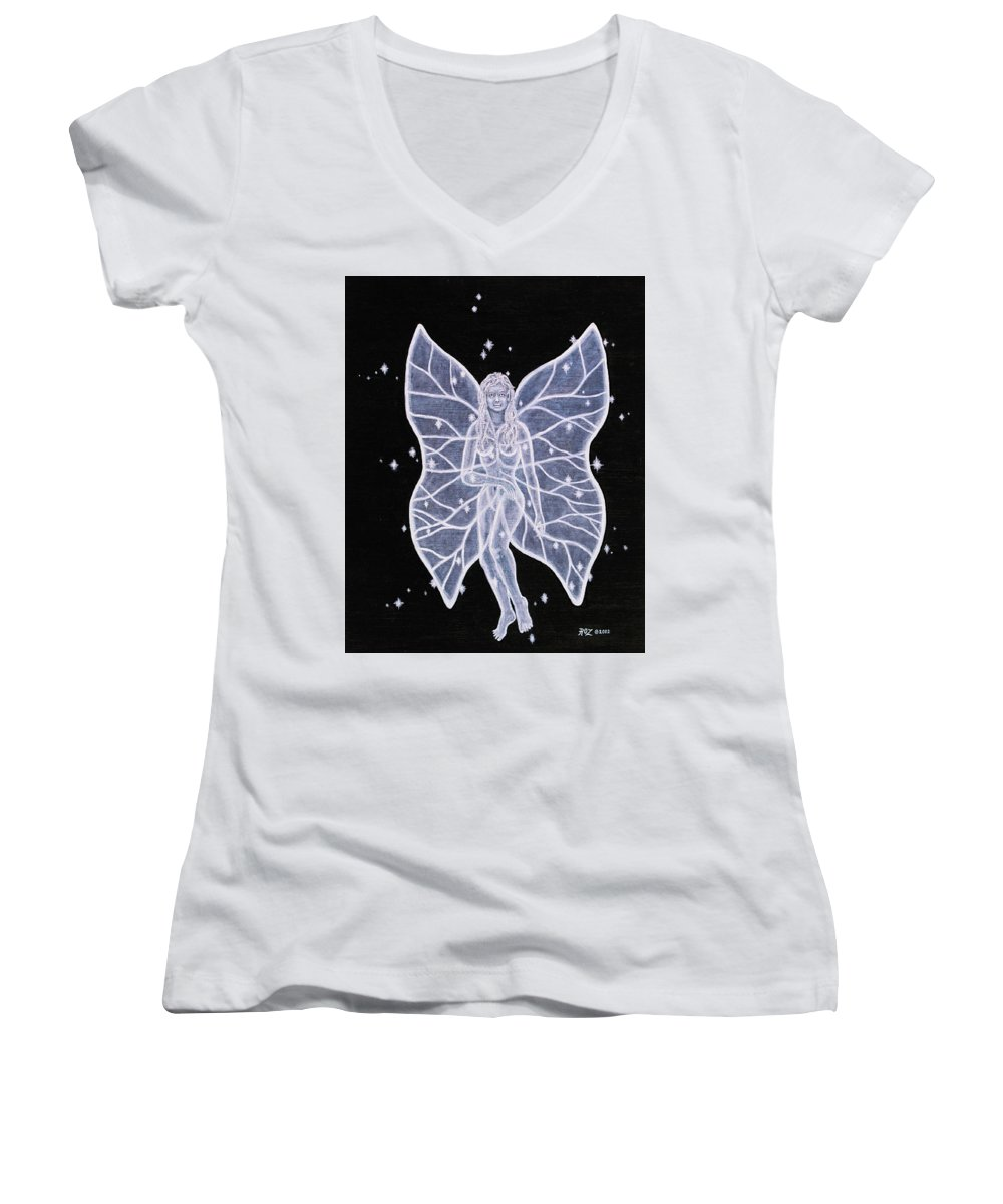 Fairy Women's V-Neck T-Shirt featuring the painting Moon Fairy by Roz Eve