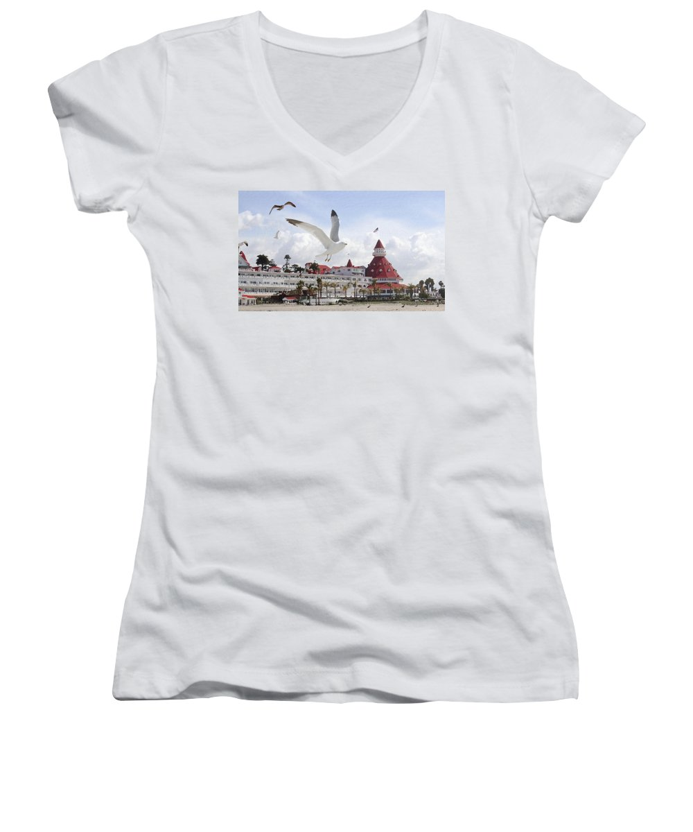 Beach Women's V-Neck T-Shirt featuring the photograph Morning Gulls On Coronado by Margie Wildblood