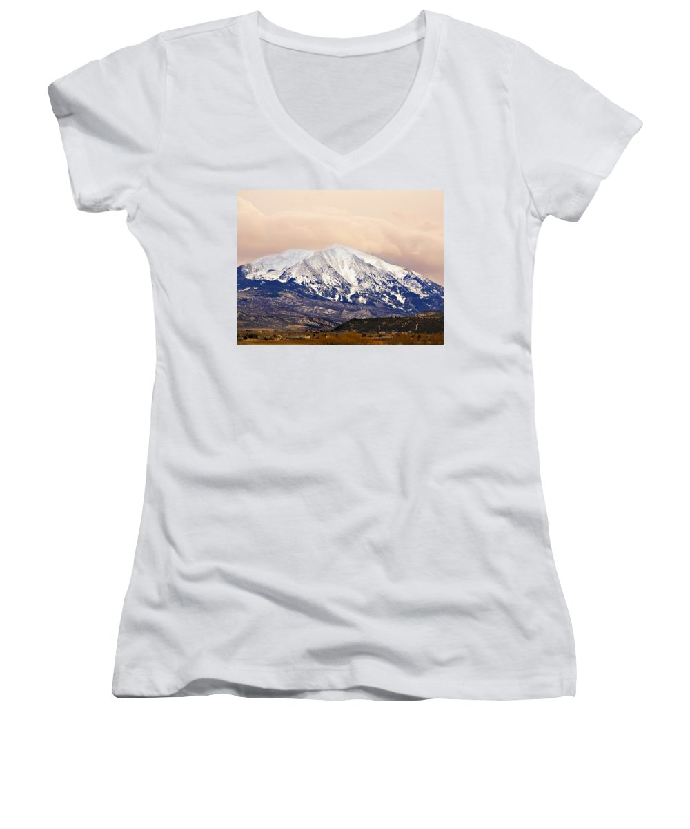 Americana Women's V-Neck T-Shirt featuring the photograph Mount Sopris by Marilyn Hunt