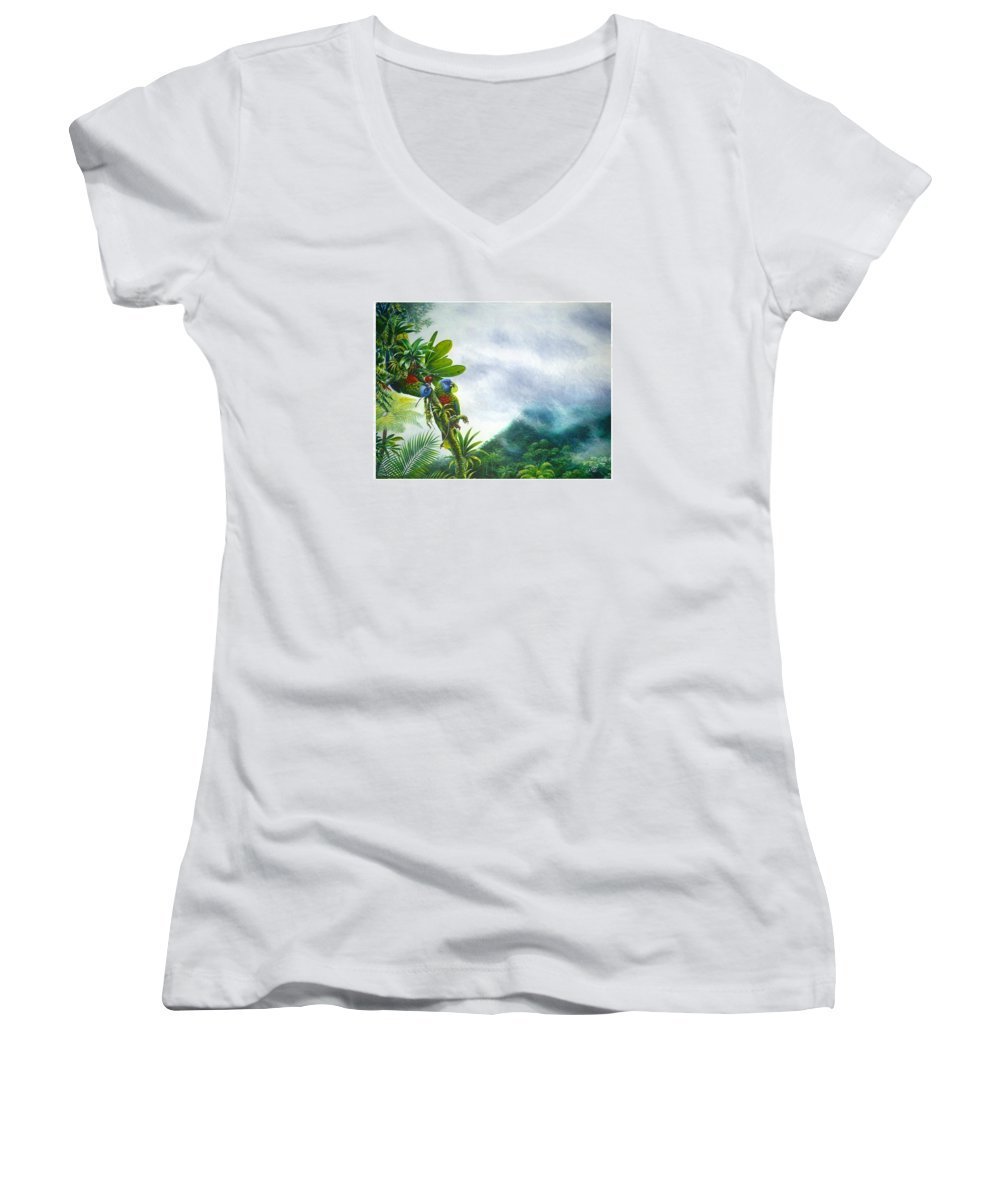 Chris Cox Women's V-Neck T-Shirt featuring the painting Mountain High - St. Lucia Parrots by Christopher Cox