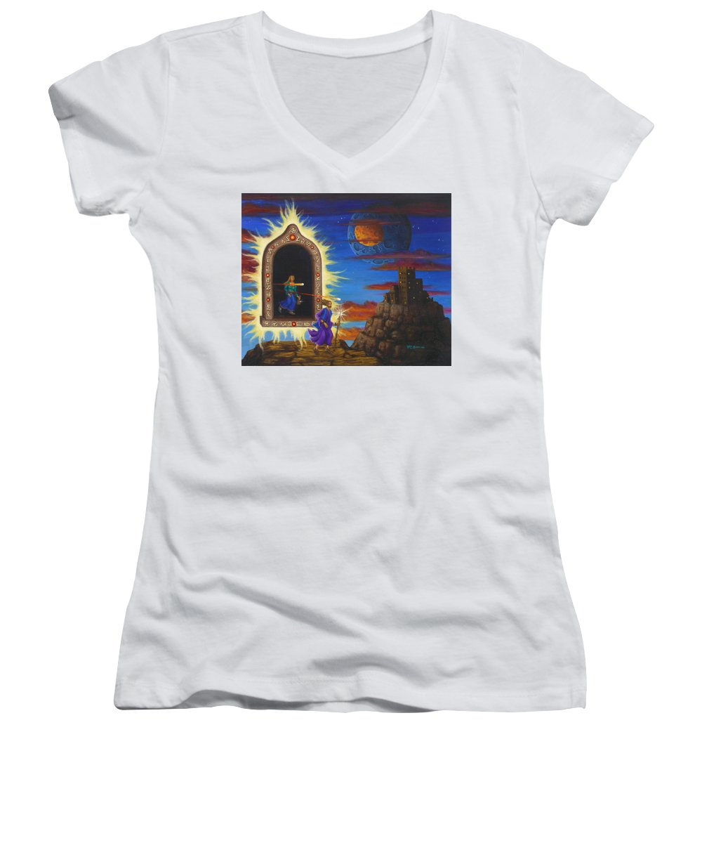 Fantasy Women's V-Neck T-Shirt featuring the painting Narrow Escape by Roz Eve