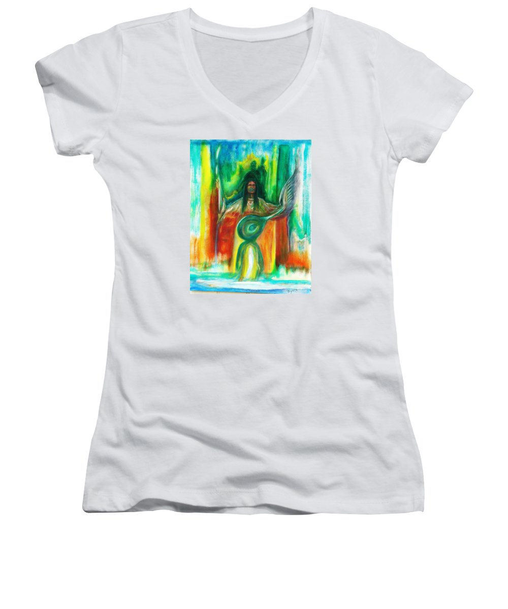 Native American Women's V-Neck T-Shirt featuring the painting Native Awakenings by Kicking Bear Productions