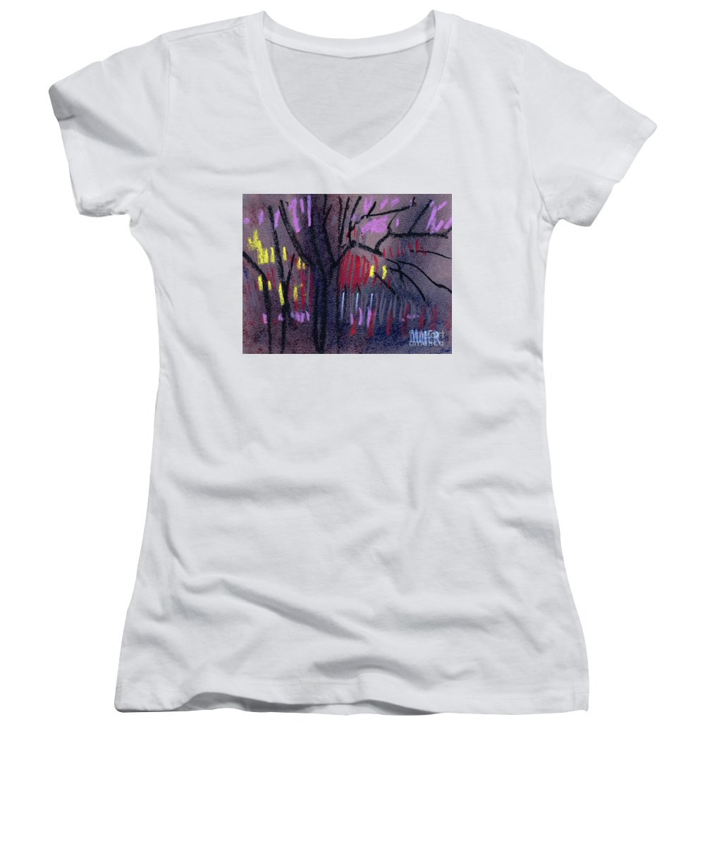 Abstract Women's V-Neck T-Shirt featuring the drawing Neighbor's Lights by Donald Maier