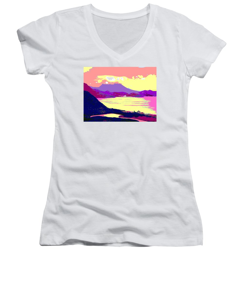 Nevis Women's V-Neck T-Shirt featuring the photograph Nevis From The Penninsula by Ian MacDonald